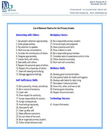 Ten Sigma Behavior Skills Rubric List Primary Grades