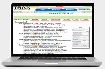 TRAX online rubricmaker computer screenshot giving tuesday