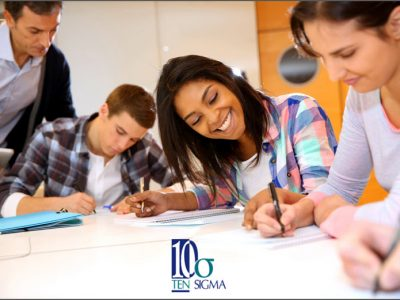 Ten Sigma assessment survey with logo and students